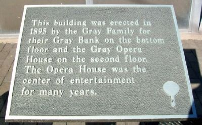 Gray Opera House Marker image. Click for full size.