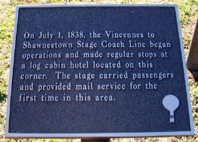 Vincennes to Shawneetown Stage Coach Line Marker image. Click for full size.