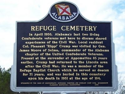 Refuge Cemetery Marker image. Click for full size.