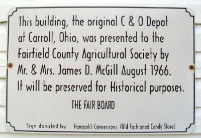 C & O Depot at Carroll, Ohio Marker image. Click for full size.