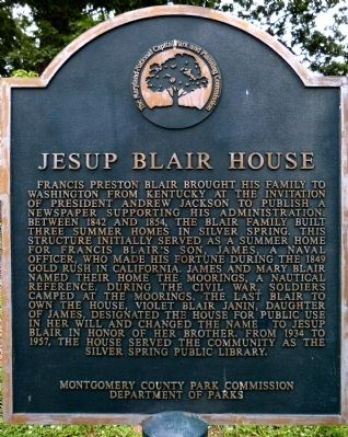 Jesup Blair House Marker image. Click for full size.