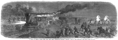A band of rebels firing into the [railroad] cars near Tunstall's Station, Virginia, June 13, 1862 image. Click for full size.