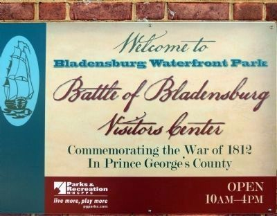 The Battle of Bladensburg Visitors Center sign image. Click for full size.
