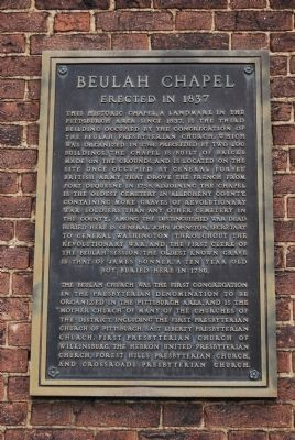 Beulah Chapel Marker image. Click for full size.