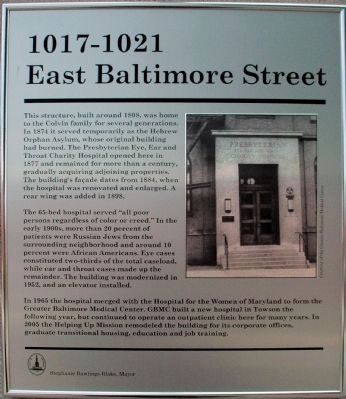 1017 - 1021 East Baltimore Street Marker image. Click for full size.