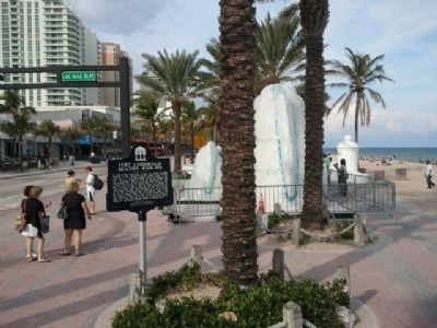 Marker Alongside Latest Fort Lauderdale Beach Exhibit image. Click for full size.