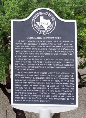Corsicana Newspapers Marker image. Click for full size.