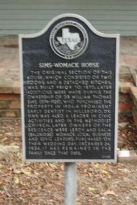 Sims-Womack House Marker image. Click for full size.