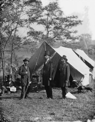 <i>Antietam, Md. Allan Pinkerton, President Lincoln, and Maj. Gen. John A. McClernand</i> image. Click for full size.