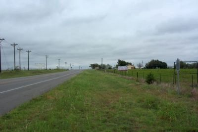Fort Graham Cemetery Marker, at right, seen along FM 933 , looking south image. Click for full size.