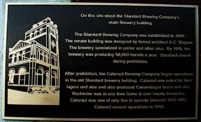 On this site stood the Standard Brewing Company's main Brewery Building. Marker image. Click for full size.