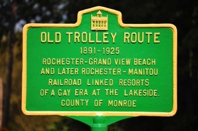 Old Trolley Route Marker image. Click for full size.