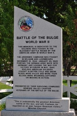 Battle of the Bulge Marker image. Click for full size.