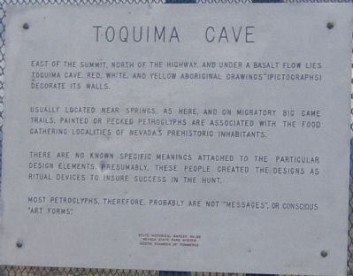 Toquima Cave Marker image. Click for full size.