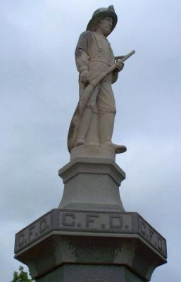 Corsicana Fire Department Monument close-up image. Click for full size.