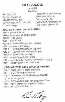 Short Biography of Calvin Coolidge image. Click for full size.
