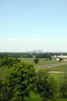 View of Downtown St. Louis<br>from top of Monks Mound image. Click for full size.