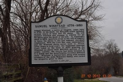 Samuel Winstead Marker (side 1) image. Click for full size.