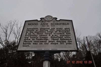 Hood and Schofield Marker (side 1) image. Click for full size.