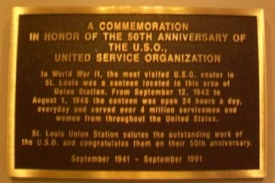 Union Station U.S.O 50th Anniv Marker image. Click for full size.