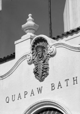 Quapaw Bathhouse - Detail of ornamentation over entrance, west front image. Click for full size.