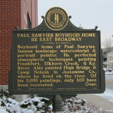 Paul Sawyier Boyhood Home Marker image. Click for full size.