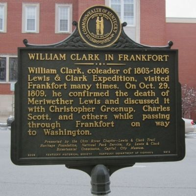William Clark in Frankfort Marker image. Click for full size.