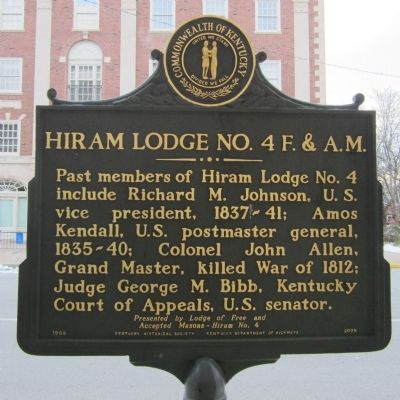 Hiram Lodge No. 4 F. & A.M. Marker image. Click for full size.