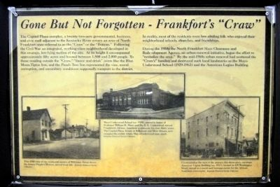 "Gone But Not Forgotten – Frankfort's ""Craw"" Marker image. Click for full size."