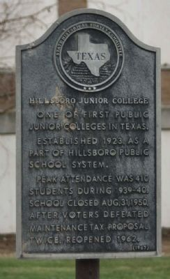 Hillsboro Junior College Marker image. Click for full size.
