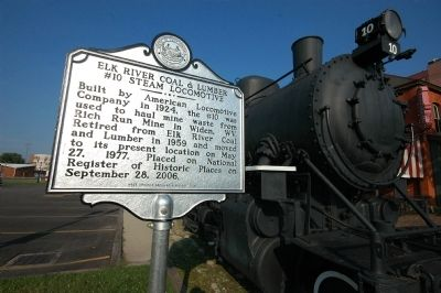 Elk River Coal & Lumber Company #10 Steam Locomotive Marker image. Click for full size.