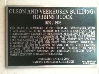 Olson and Veerhusen Building / Hobbins Block Marker image. Click for full size.