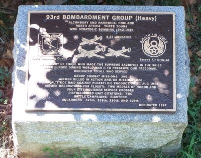 93rd Bombardment Group (Heavy) Marker image. Click for full size.