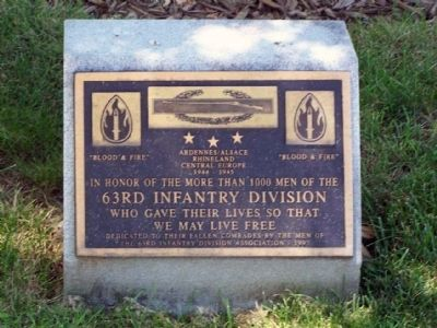 63rd Infantry Division Marker image. Click for full size.