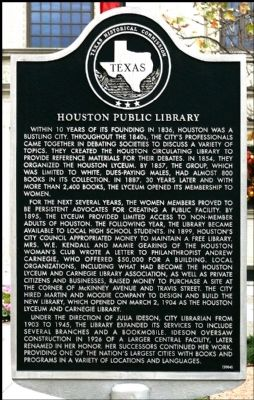 Houston Public Library Marker image. Click for full size.