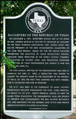 Daughters of the Republic of Texas Marker image. Click for full size.