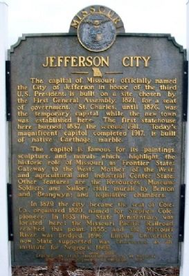Jefferson City Marker (Front) image. Click for full size.