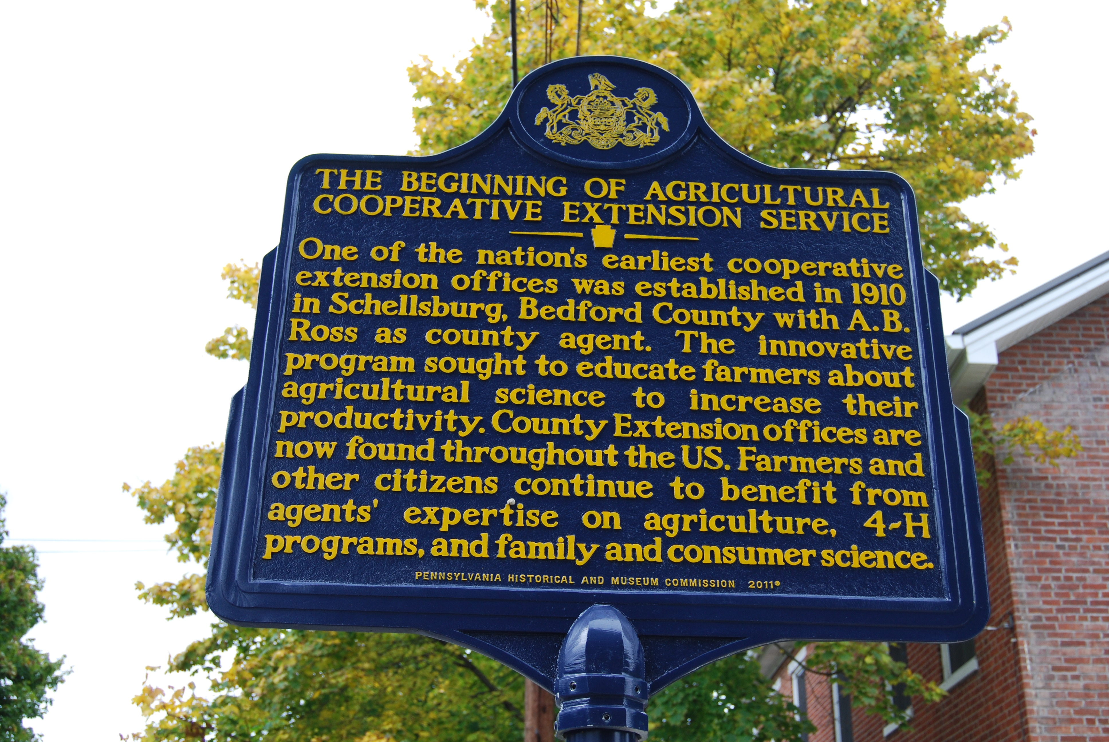 The Beginning of Agricultural Cooperative Extension Service Marker