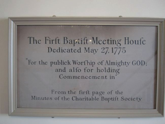 The First Baptist Meeting House Plaque image. Click for full size.