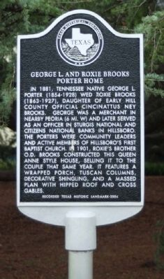 George L. and Roxie Brooks Porter Home Marker image. Click for full size.