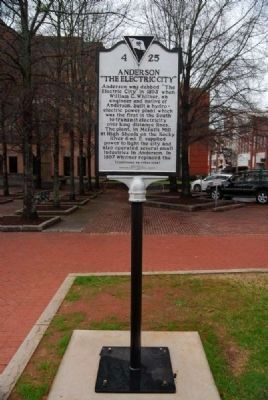 "Anderson: ""The Electric City"" Marker<br>Present Location, Front image. Click for full size."