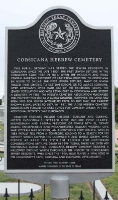 Corsicana Hebrew Cemetery Marker image. Click for full size.