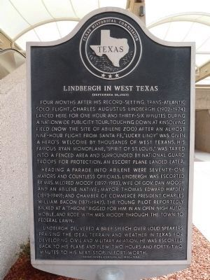 Lindbergh in West Texas Marker image. Click for full size.