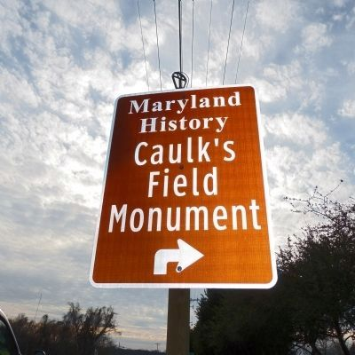 Caulk's Field Monument sign at the the corner of Tolchester Road and Caulk's Field Road image. Click for full size.