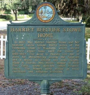 Harriet Beecher Stowe Home Marker image. Click for full size.