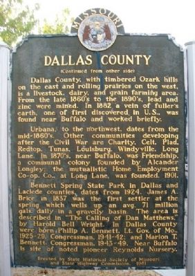 Dallas County Marker (back) image. Click for full size.