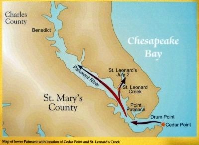 Map showing the Battles of Cedar Point and St. Leonard's Creek image. Click for full size.