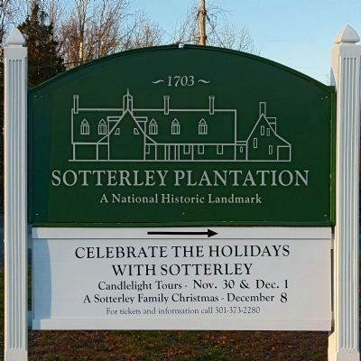 Front gate sign at Sotterley Plantation image. Click for full size.