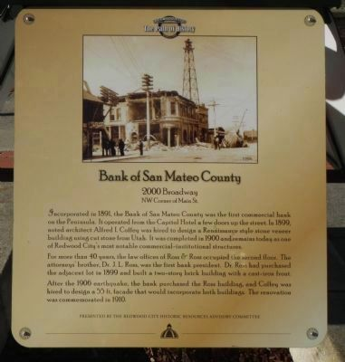 Bank of San Mateo County Marker image. Click for full size.