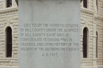 Hill County Confederate Memorial Marker image. Click for full size.